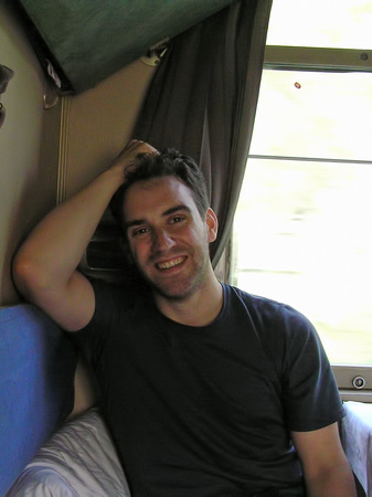 Stephane in Trans-Siberian train towards Mongolia (2005)